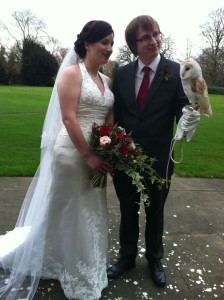 Marie and Laurence wedding with Molly, The Owl Ring Bearer